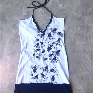 Rockin' Bones Bees Screenprint Tunic Halter Top